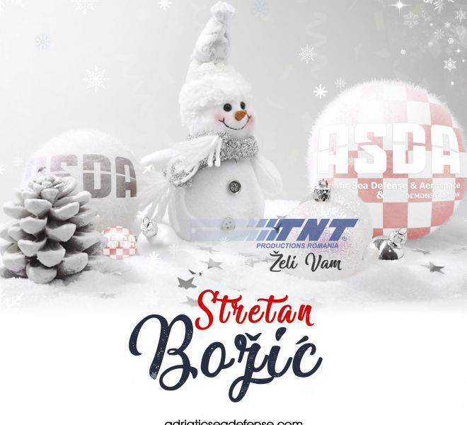 Christmas border with ornament, golden present and snow